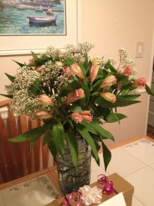 I woke up to these Birthday Flowers on my kitchen table. Thanks, honey! :)